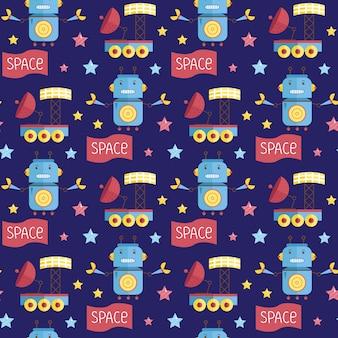 Space invaders cartoon seamless pattern