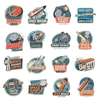 Space retro ikony misji marsa