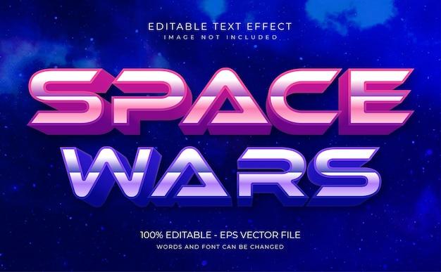 Space wars edytowalny efekt tekstowy premium wektorów