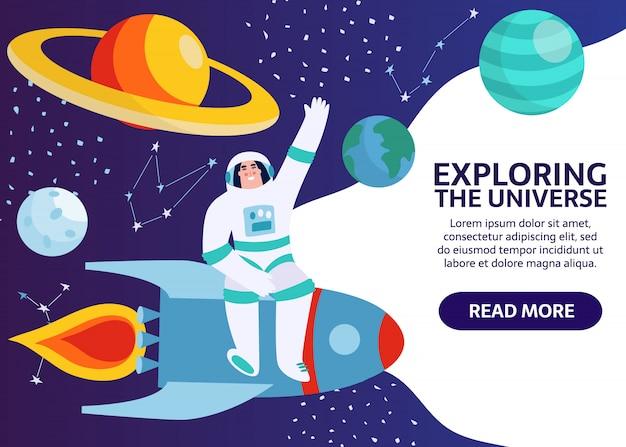 Spaceman w kosmosie z gwiazdami, księżycem, rakietą, asteroidami, konstelacją na tle. astronauta ze statku kosmicznego badający wszechświat i galaktykę. kosmonauta kreskówka w banerze skafandra.