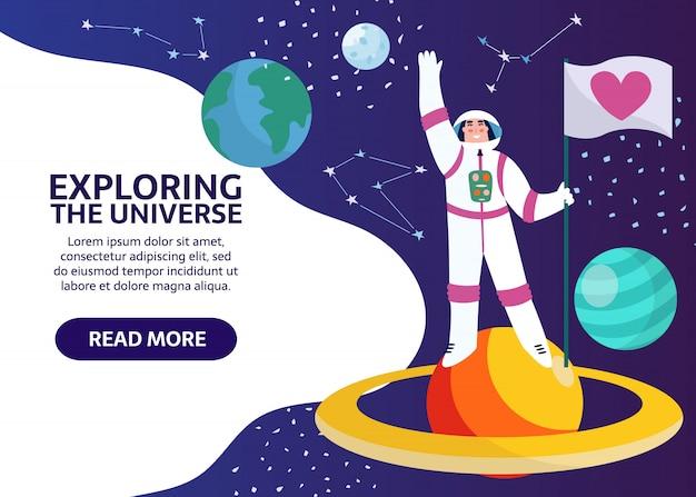 Spaceman z flagą w przestrzeni kosmicznej z gwiazdami, księżycem, konstelacją na tle. kobieta astronautka ze statku kosmicznego badająca saturn, wszechświat i galaktykę. kreskówka kosmonauta w banerze vetor skafandra.