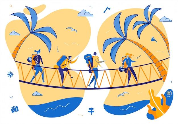 Spacer turystów w zatrzasku mostu
