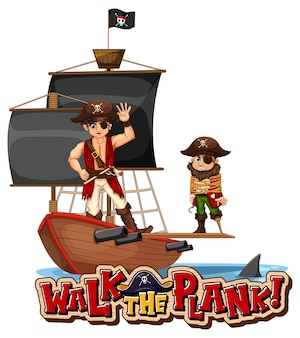 Spaceruj po banerze z czcionką deski z piracką postacią z kreskówek ze statkiem pirackim