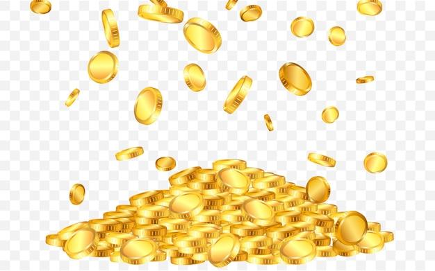 Spada z góry sporo złotych monet