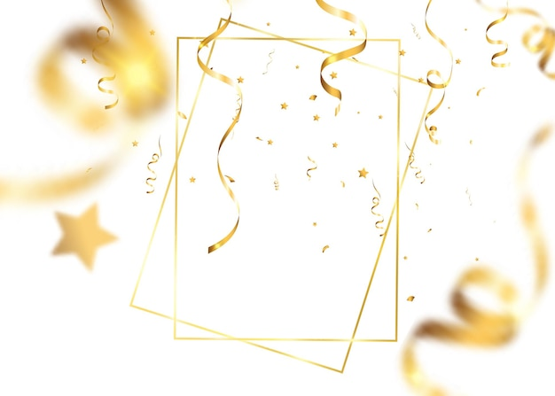 Spada złote konfetti. spadające serpentyny.