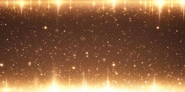 Spadają świąteczne złote konfetti gwiazdki