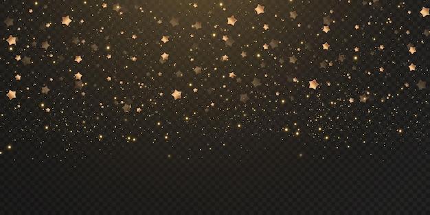 Spadają złote gwiazdy konfetti, błyszczące gwiazdy latają po nocnym niebie pośród odbić świetlnych punktów przestrzeni. tło wakacje. magiczny połysk.
