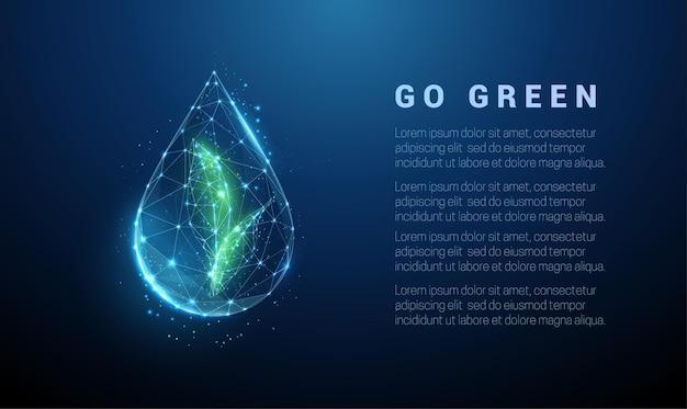 Spadająca kropla wody z zielonymi liśćmi w środku. projekt w stylu low poly.