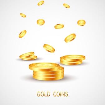 Spadająca złota moneta.