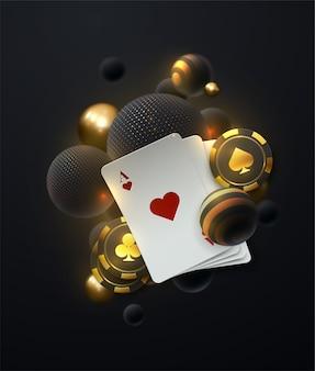 Spadające białe i złote miękkie kule. ilustracja na temat kasyna z symbolami pokera i kartami pokera na ciemnym tle.
