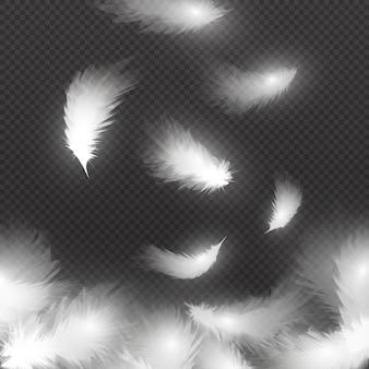 Spadające białe puszyste pióra na powietrzu na białym tle