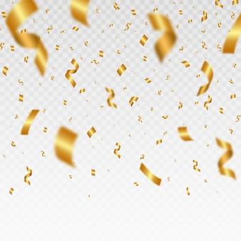 Spadające błyszczące złote konfetti jasny świąteczny blichtr złotego koloru