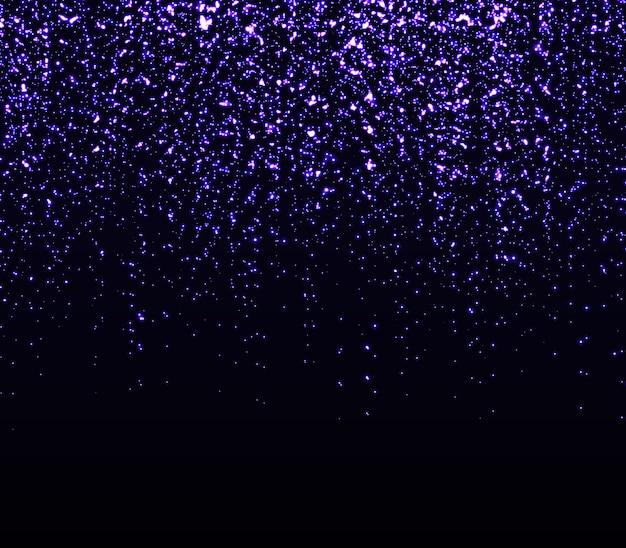 Spadające cząstki. błyszczące tło. lśniące fioletowe konfetti. efekt świetlny. spadające gwiazdy. błyszczące cząsteczki.