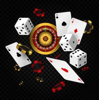 Spadające elementy kasyna. ruletka w kasynie z żetonami, realistyczny plakat hazardowy w czerwonych kostkach. karty do gry i żetony do pokera latają w kasynie