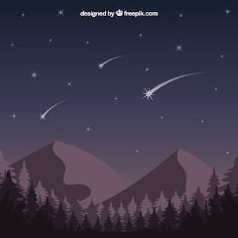 Spadające gwiazdy nad górami