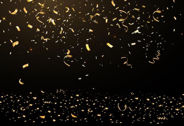 Spadające jasne błyszczące złote konfetti, celebracja gwiazd, serpentyna