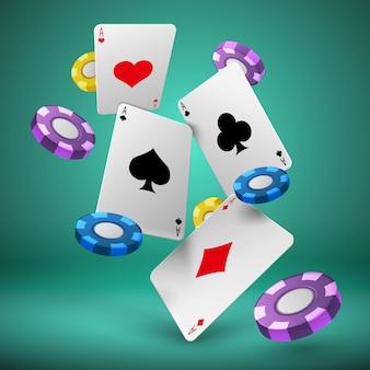 Spadające karty do gry i żetony do pokera hazard tło