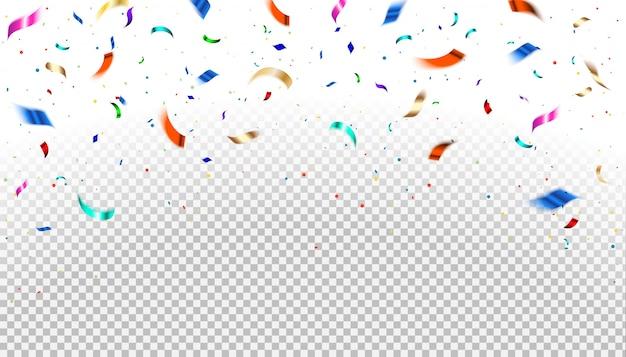 Spadające kolorowe konfetti i błyszczące złoto, błyszczy