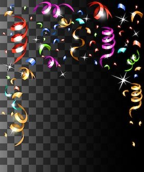 Spadające kolorowe konfetti i kolorowe wstążki ozdoby świąteczne na przezroczystym tle strony internetowej i aplikacji mobilnej
