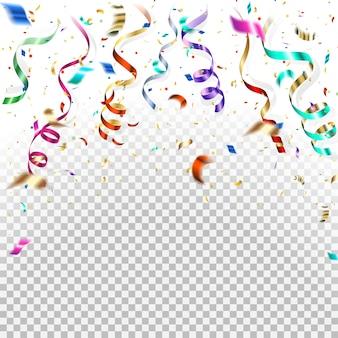 Spadające kolorowe konfetti, kolorowa serpentyna i złote iskierki.