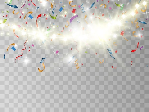 Spadające kolorowe konfetti.