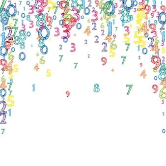 Spadające kolorowe numery porządkowe. koncepcja studiów matematycznych z latającymi cyframi. delikatny powrót do szkoły matematyki transparent na białym tle. spadające liczby ilustracji wektorowych.