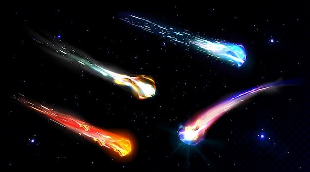 Spadające komety, asteroidy lub meteory z płomieniem