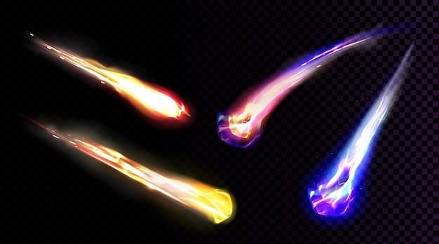 Spadające komety, asteroidy lub meteory ze smugą płomienia na przezroczystym tle