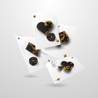 Spadające kości i asy kasyna, pojęcie wygranej lub hazardu. poker i gry karciane. ,