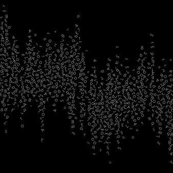 Spadające liczby, koncepcja dużych zbiorów danych. binarne białe nieuporządkowane latające cyfry. delikatny futurystyczny transparent na czarnym tle. cyfrowa ilustracja wektorowa z spadającymi liczbami.