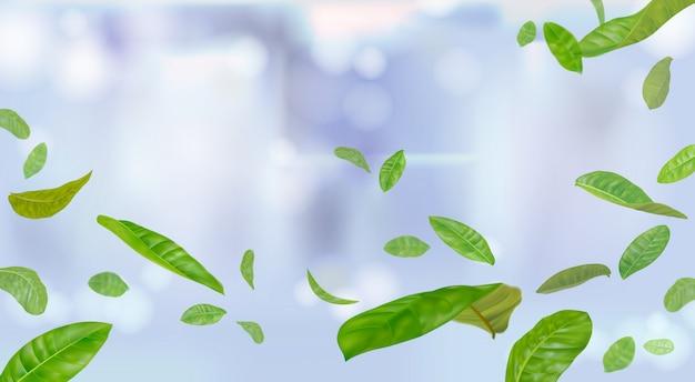 Spadające liście lub latające w powietrzu rozmazane głębia ostrości na jasnoniebieskim tle
