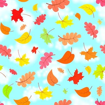 Spadające liście na niebieskim niebie, kolorowy wzór