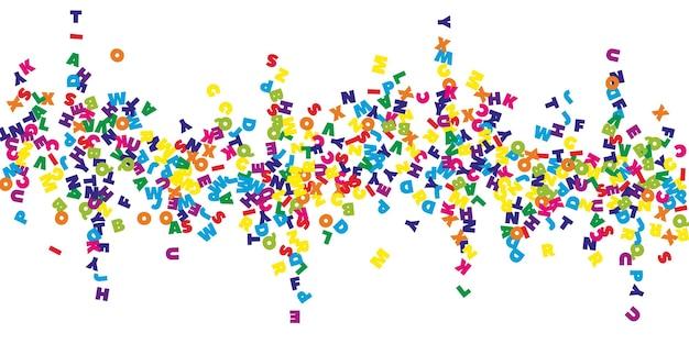 Spadające litery języka angielskiego. kolorowe słowa latające alfabetu łacińskiego. koncepcja nauki języków obcych. świetny powrót do szkoły transparent na białym tle.