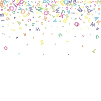 Spadające litery języka angielskiego. kolorowy brudny szkic latające słowa alfabetu łacińskiego. koncepcja nauki języków obcych. całkiem powrót do szkoły transparent na białym tle.
