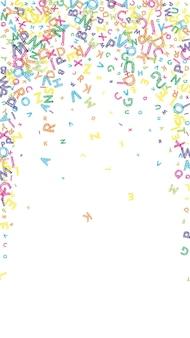 Spadające litery języka angielskiego. kolorowy brudny szkic latające słowa alfabetu łacińskiego. koncepcja nauki języków obcych. wspaniały powrót do szkoły transparent na białym tle.
