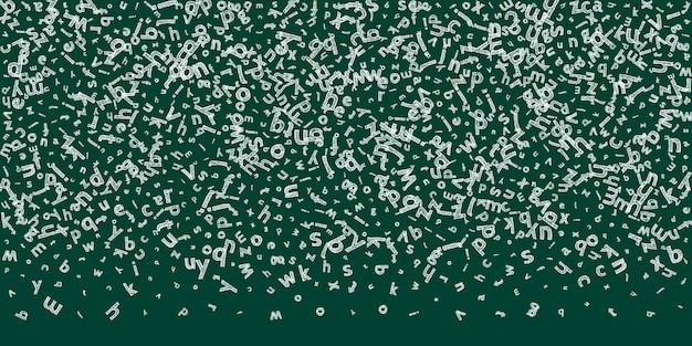Spadające litery języka angielskiego. szkic kredą latające słowa alfabetu łacińskiego. koncepcja nauki języków obcych. emocjonalny powrót do szkoły transparent na tle tablicy.