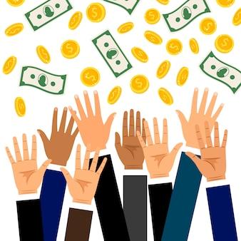 Spadające monety dolara i banknoty deszcz z podniesionymi rękami biznesmena