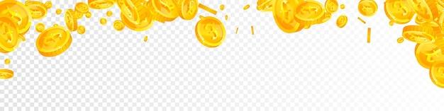 Spadające monety funta brytyjskiego. klasyczne rozproszone monety gbp. pieniądze z wielkiej brytanii. wspaniały jackpot, bogactwo lub koncepcja sukcesu. ilustracja wektorowa.