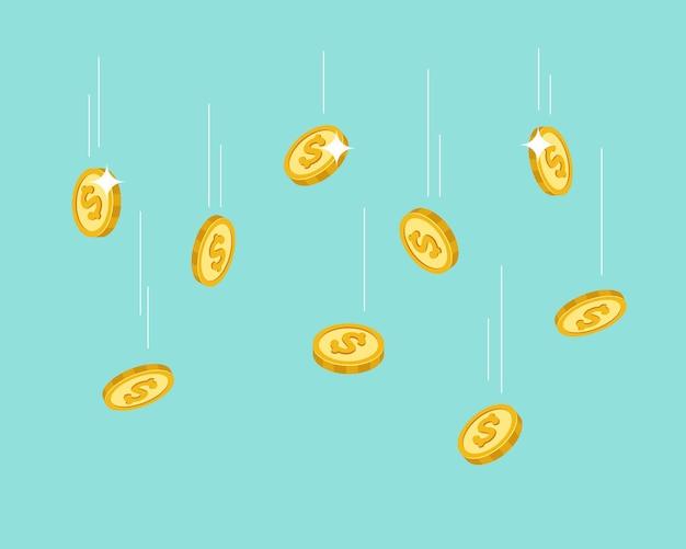 Spadające monety latające złote konfetti pieniężne w dolarach lub deszcz pieniędzy bankowość inwestycje finansowe kasyno