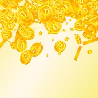 Spadające monety rubla rosyjskiego. wyjątkowe rozrzucone monety rub. pieniądze rosji. dobra koncepcja jackpota, bogactwa lub sukcesu. ilustracja wektorowa.