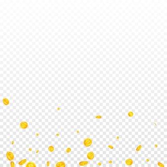 Spadające monety rubla rosyjskiego. znakomite rozproszone monety rub. pieniądze rosji. zgrabna koncepcja jackpota, bogactwa lub sukcesu. ilustracja wektorowa.