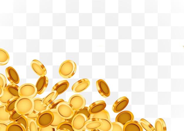 Spadające monety, spadające pieniądze, latające złote monety, złoty deszcz na białym tle.