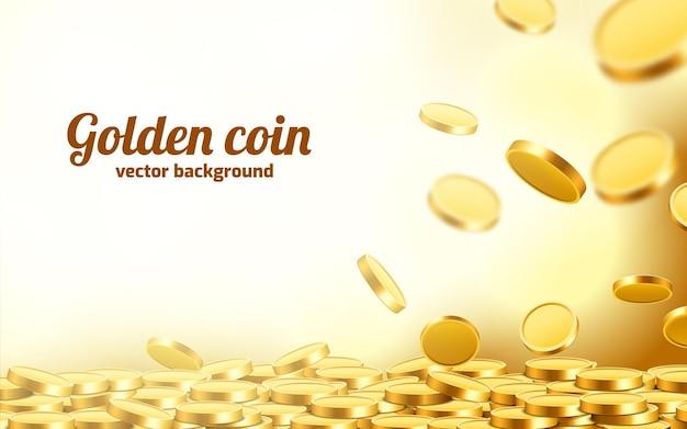 Spadające monety, spadające pieniądze, latające złote monety, złoty deszcz.