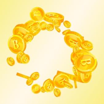 Spadające monety tajski baht. fascynujące rozrzucone monety thb. tajlandia pieniądze. znakomity jackpot, bogactwo lub koncepcja sukcesu. ilustracja wektorowa.