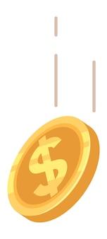 Spadające pieniądze ikona. latająca moneta złotego dolara.