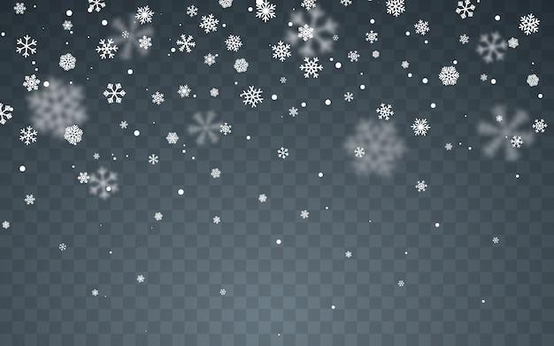 Spadające płatki śniegu na ciemnym tle