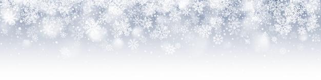 Spadające płatki śniegu wesołych świąt transparent streszczenie tło