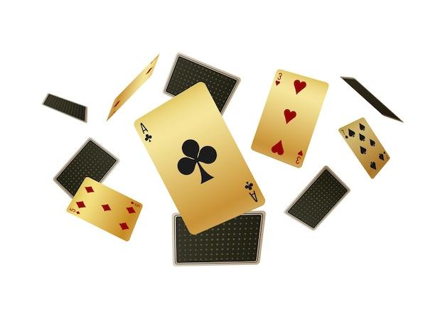 Spadające realistyczne karty do gry