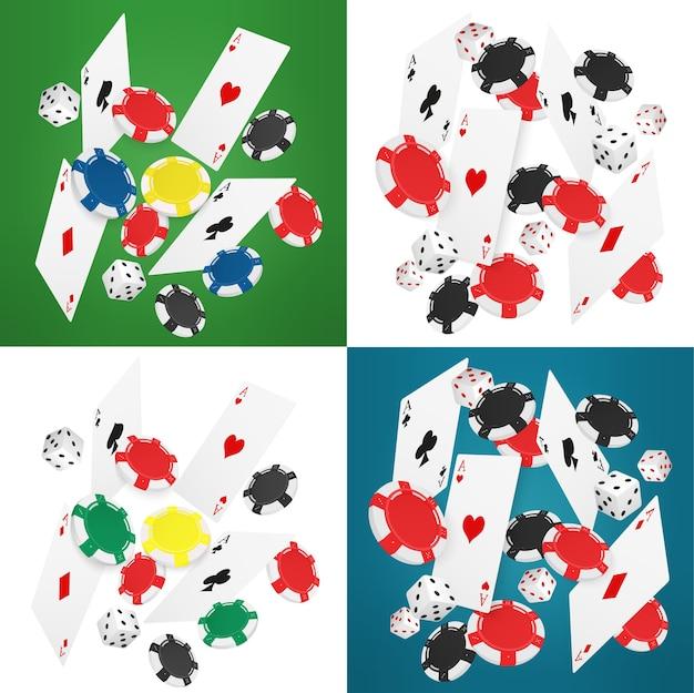 Spadające realistyczne karty kasynowe, żetony i asy. kasyno online