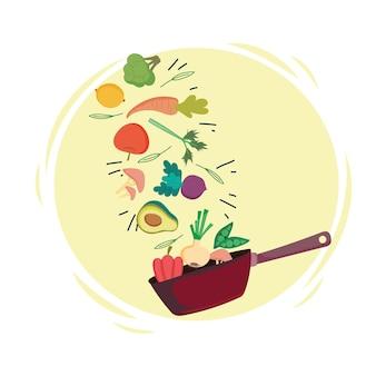 Spadające zdrowe jedzenie